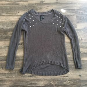 Tilly's Charcoal Gray Knit Studded Sweater